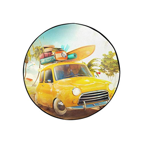 Truck Tire Covers Funny Retro Car With Surfboard And Suitcases On A Spare Tire Cover Fashionable Portable Dust-proof Trailer Wheel Covers Fit For Jeep Trailer Rv Suv And Most Car(diameter 30 Inch)