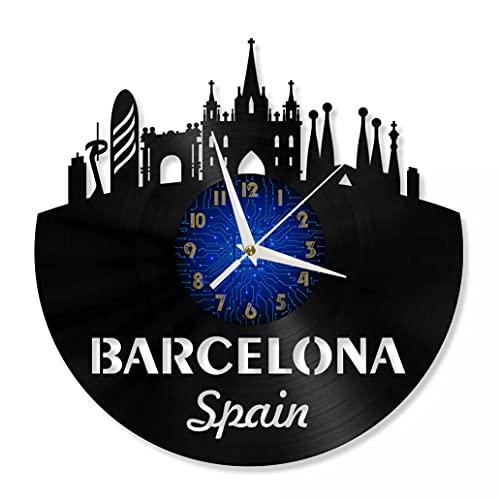 KDBWYC Barcelona, diseño Moderno, decoración del hogar, Creatividad, Registro de Vinilo de 12 Pulgadas, Reloj de Pared LED para Sala de Estar, Cocina, decoración de Arte de Pared, sin LED