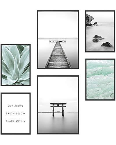 Heimlich® Premium Poster Set | Stilvolles Set mit passenden Bilder als Wohnzimmer Deko | 2 x DIN A3 & 4 x DIN A4 - ca. 30x42 & 21x30 | Bilderrahmen Holz Schwarz » Yoga Achtsamkeit «