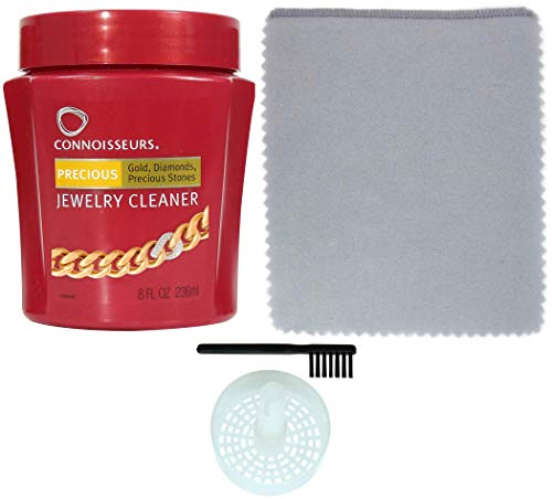Connoisseurs Jewelry Cleaner for Diamond, Platinum & Precious Stones with Bonus Ultra Soft Polishing Cloth, Basket and Brush (Precious Jewelry Cleaner & Polishing Cloth, Pack of 2)