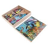 FLAMEER Caja de Almacenaje Rompecabezas Puzzles de Madera, 4 Pedazos Pintura para Construcción para Niños 4 Años - Mundo Submarino
