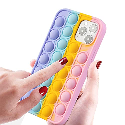 KABIOU Funda de silicona para iPhone 5, 5S, 4S, 4, 12, Pro Max 12, 12, Pro 11, XR XS Plus Push Sensory Bubble Protector de silicona para iPhone X/XS