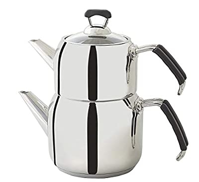 Turkish Teapot Set, Stainless Steel, Tea Maker, Medium Size Caydanl?k with FREE set of 6 Tea Saucers (Medium, Brown)