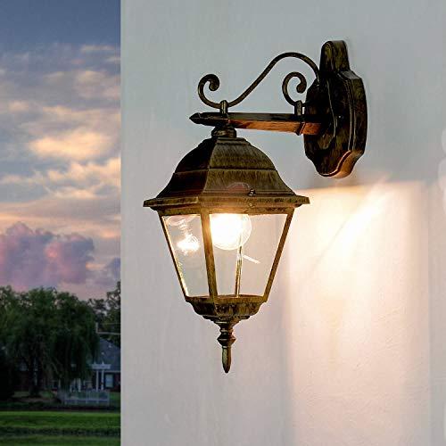 Rustikale Außen Wandleuchte Gold Antik E27 wetterfest Glas Laterne 41cm Wegbeleuchtung Garten Balkon