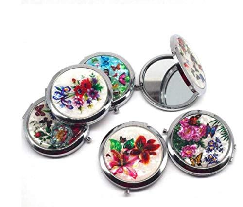 QWXINXING Peigne Miroir Vintage 1pcs Mini Maquillage Compact Poche Fleur Papillon en métal Portable Pliant Deux Faces cosmétique Une Couleur