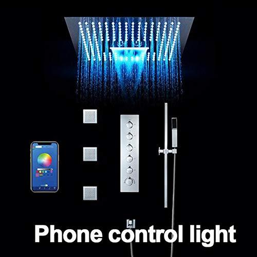 MEILINYU Badezimmer Duschsystem 16 Zoll LED Duschen Kopf Decken Regen Duschpaneel Thermostat-Unterputz-Mischer Badezimmer-Hahn,Phone Control ligtht