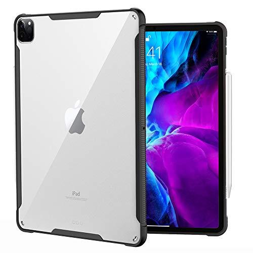 iPad Pro 12.9 ケース Dadanism iPad Pro 12.9 インチ 2020モデル 新型 iPad/タブレットケース 透明クリアバックケース 背面PCハードケース 衝撃吸収 TPUフレーム(黒い) ビジネスケース 四隅保護 ハストラッ