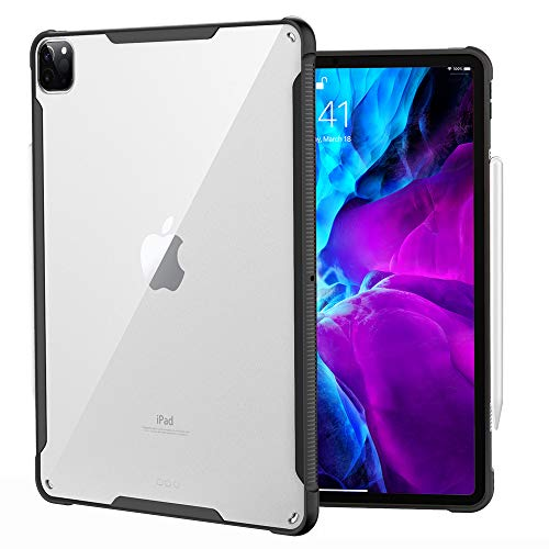 Dadanism Clear Case for iPad Pro 12.9 inch 2020 4th Generation & 2018, Ultra Slim Transparent Hard PC Back Protective Cover with Shockproof Soft TPU Edge [Support Apple Pencil Pair/Charging] - Black