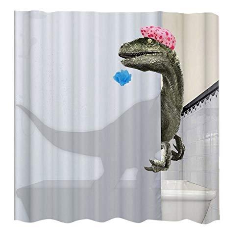 OVBBESS Schöner Duschvorhang mit Dinosaurier-Druck, wasserdicht, Badezimmer-Duschvorhang, Badezimmer-Zubehör, Dekoration, 180 x 200 cm