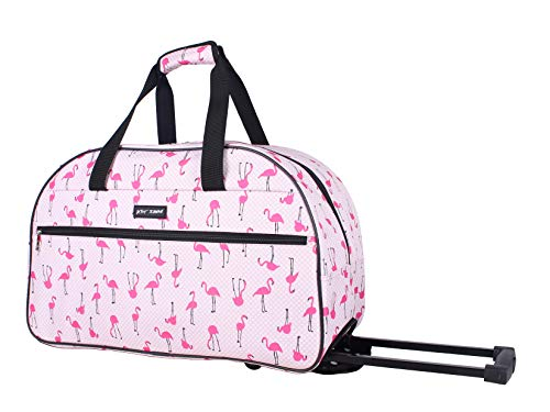 Betsey Johnson Designer Carry On Luggage Collection - Lightweight Pattern 22 Inch Duffel Bag- Weekender Overnight Business Travel Suitcase with 2- Rolling Spinner Wheels (Flamingo Strut)