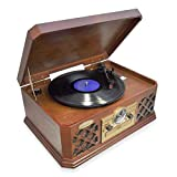 Bluetooth Compatible Classic Vintage Turntable - Retro Vinyl Wood Record Player Speaker Sy...