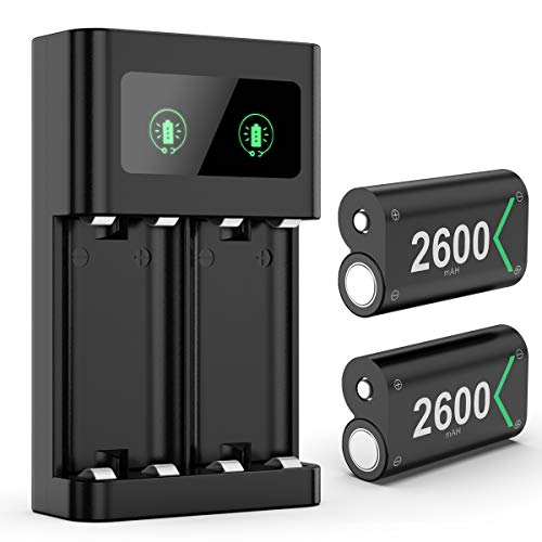 KINGTOP Xbox Controller-Ladegerät mit USB C-Ladekabel 2 Wiederaufladbare 2600-mAh-Batterien für Xbox One/Xbox One S/Xbox One X/Xbox One Elite-Controller