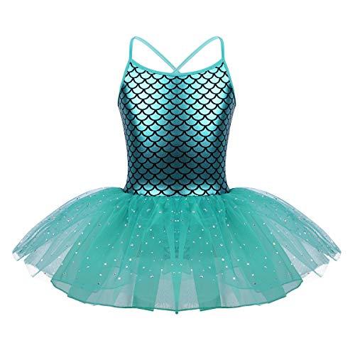 CHICTRY Mädchen Meerjungfrau Kostüm Ballettkleid Prinzessin Kleid Fisch Skala Kinder Ballett Trikot Ballettanzug mit Tütü Rock Fasching Karneval See Blau 122-128