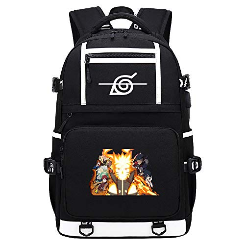 BOBD-DW Naruto Laptop Backpack with USB Charging Port Business Notebook Anti-Theft Rucksacktablets Daypack White Character USB Anime Backpack 48X30X15CM