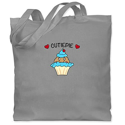 Comic Shirts - Cutiepie - Unisize - Hellgrau - essen - WM101 - Stoffbeutel aus Baumwolle Jutebeutel lange Henkel