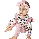 Moneycom❤ Neonato Bambino Bambina Vestito Vestito Fiore Stampato T-shirt a Maniche Lunghe + Pantalone Set Anniversario Tulle Chic Cerimonia Matrimonio Rosa Rosa 3-6 Mesi