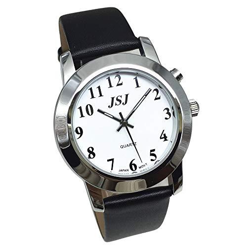 Reloj de pulsera parlante en alemán con función de despertador, función de voz, hora y fecha, esfera blanca, correa de piel negra.