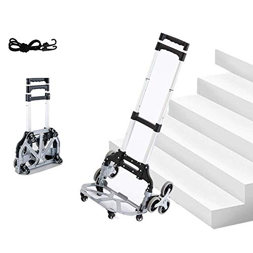 EULANGDE Aluminum Folding Hand Truck Dolly Portable Multi-Purpose Trolley,Climb Stairs Hand Truck,Lightweight Cart for Luggages,Travel Transporting,Office Use,Indoor Outdoor Use,Home Life Use