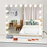 FENCHILIN Vanity Mirror for Makeup Bluetooth, Extra Large Hollywood Lighted Mirror with 18 Dimming LED Bulbs Smart, Tabletop/Hanging Cosmetic Mirror with Touch Screen & USB Charging Port & Speaker