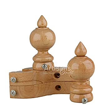 ARTISANS CRAFT - Handmade Wooden Curtain Rod Brackets with Round Finials for Curtains Natural Rosewood Home Accessories | Window Treatment | Drapes