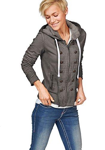 KangaROOS Damen Sweatjacke Jacke Uniform Look (Anthrazit, 32/34)