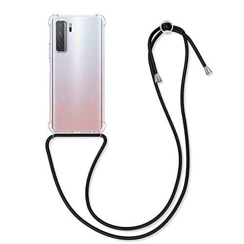 kwmobile Crossbody Case Compatible with Huawei P40 Lite 5G - Clear Transparent TPU Cell Phone Cover with Neck Cord Lanyard Strap - Transparent