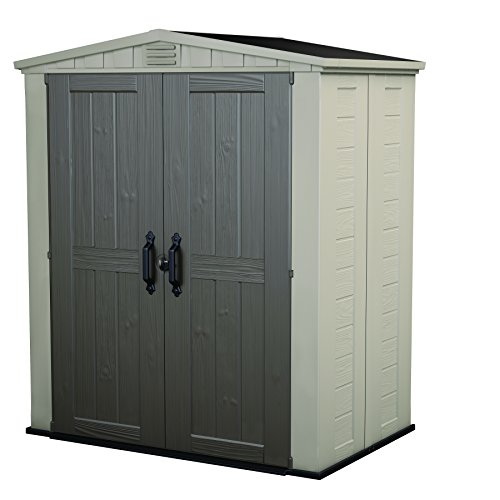 Keter Factor 6x3 Outdoor Storage Shed Kit-Perfect to Store Patio Furniture, Garden Tools Bike Accessories, Beach Chairs and Push Lawn Mower, Taupe & Brown