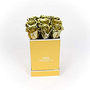 unique roses – real preserved mini roses that last a year – mini roses in a box (gold roses/gold box) silk flower arrangements
