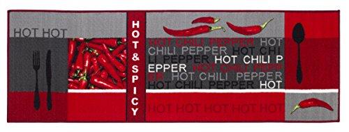 Teppichläufer Küchenläufer Chilidesign Chililäufer Küchenteppich – Wohnzimmer Eingangsbereich Flur Küche – Hot & Spicy - gekettelt strapazierfähig pflegeleicht – 67 x 120 cm rot