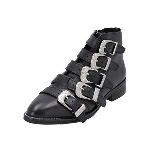 Topshop ANDI Multi Buckle BT Damen Stiefel Schwarz Schnür-Stiefelette Winter, Größe:EUR 39