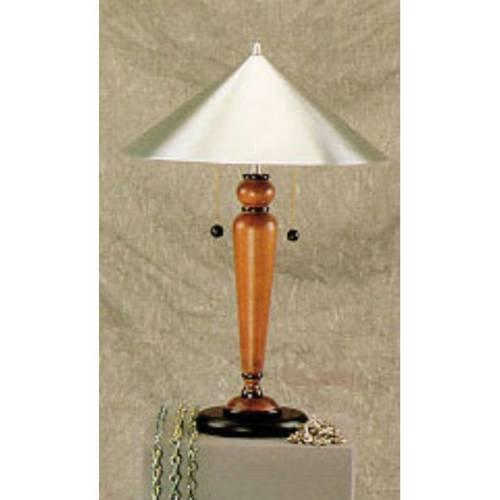 Lite Source LS-3351TEAK Life-Style Life-Style Table Lamp, Teak with Metal Shade
