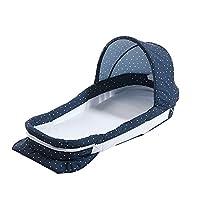 バイオニックベビーベッドポータブルベビーベッドベビーベッド多機能折りたたみ新生児バイオニックベッド耐圧ベッドブルー+オーニング
