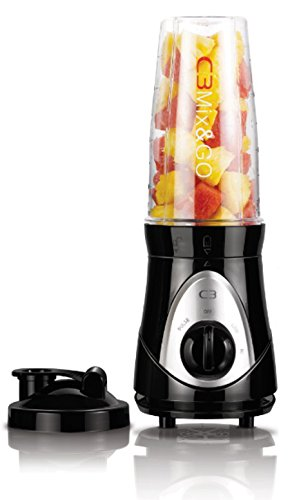 C3 30-10107 Mix en Go Basic - Smoothiemaker met drinkbeker en drinksluiting, zwart