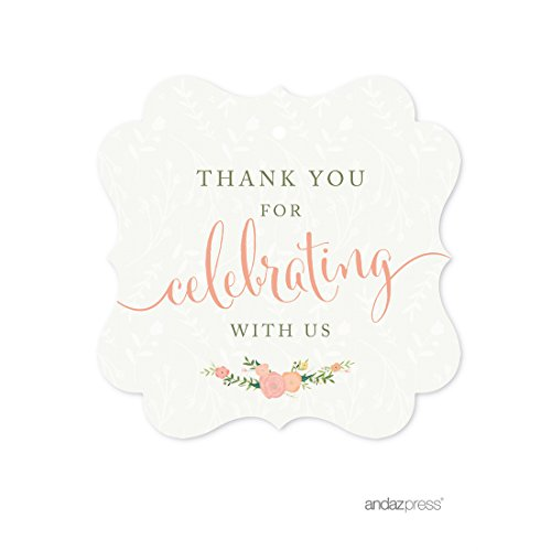 Andaz Press Floral Roses Girl Baby Shower Collection, Fancy Frame Gift Tag, Thank You for Celebrating with US!, 24-Pack