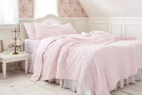 "Shabby Chic Pink Velvet Quilt - King Size (All Cotton) 104"" x 92"""
