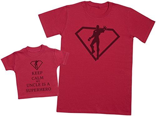 Keep Calm My Uncle is A Superhero - Ensemble Père Bébé Cadeau - Hommes T-Shirt & T-Shirt bébé - Rouge - XX-Large & 6-12 Mois