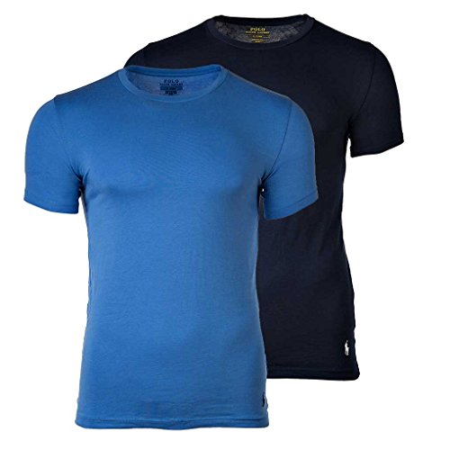 Polo Ralph Lauren Pack de 2 Hombres Camisetas, Cuello Redondo, Media Manga - Azul Marino/Azul: :...