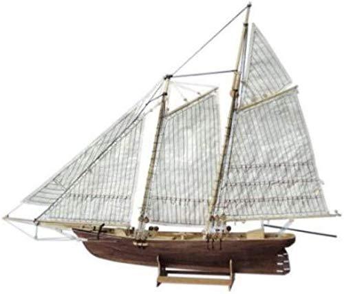RUXMY Decoración Modelo de velero 1: 120 DIY Ensamblaje de Madera Modelo de Barco de Vela Barco de Vela clásico Proceso de Corte por láser Juguetes de Rompecabezas