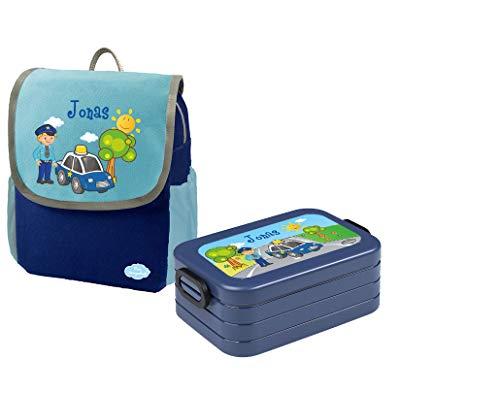 Mein Zwergenland Set 1 Kindergartenrucksack und Brotdose Happy Knirps Next mit Name Polizei, 2-teilig, Blau