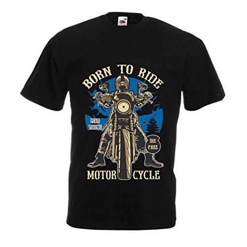 Maglietta da Uomo Live Young - Die Free - Nato per Guidare la Moto, Idee Regalo per Motociclisti, Slogan ispiratori (Medium Nero Multicolore)