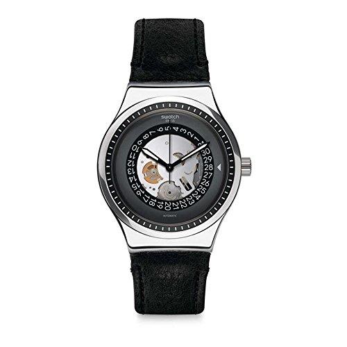 Swatch Herren Analog Automatik Uhr mit Leder Armband YIS414