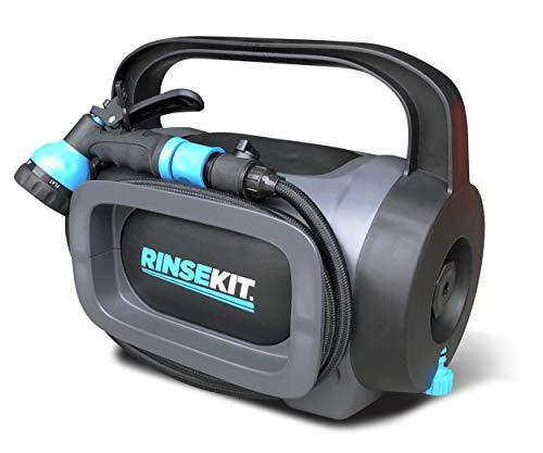 Rinse Kit Tragbare Outdoor-Dusche | 1,75 Gallonen Wasser | Drucksprühgerät für 4 Minuten | kein Pumpen – keine Batterien | Camping, Surfen, Haustiere, Sport | BPA-frei (RinseKit POD)