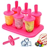 Bluelves Moldes Helados, 6 Mini Moldes para Hacer para Ice Cream Mold Reutilizable Sin BPA Pop Mold Popsicle DIY Helado Zumo Batido Yogur, Rosado
