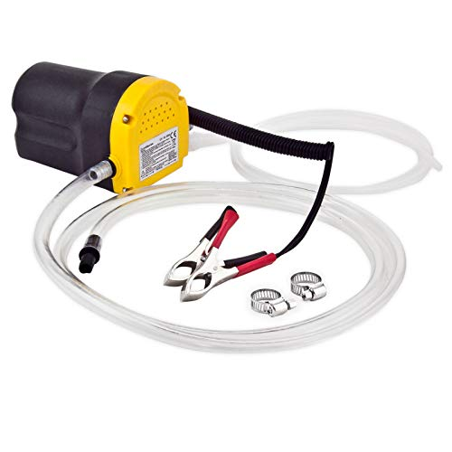 Grafner 12V elektrische Ölabsaugpumpe, 60 Watt - 1,2 Liter/min, mit Schalter, Schläuchen und Rohrschellen, Ölpumpe Absaugpumpe Dieselpumpe Pumpe Öl