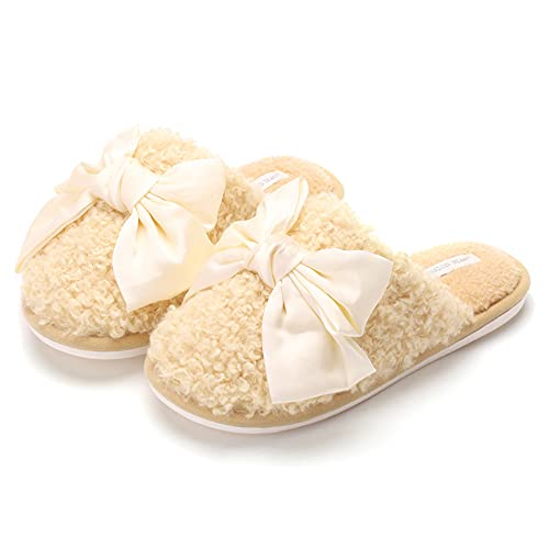 Womens Fluffy Slides Faux Fur Criss Cross Fuzzy House Slippers Open Toe Yoga Mat Indoor Outdoor Flat Plush Sandals with Arch Support -B/B / 40/41