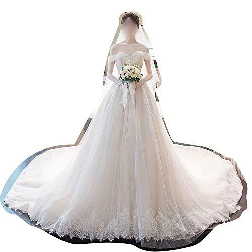 FELICIOO Hochzeit Traum Braut Prinzessin Traum Schwanz Schlanke (Design : Trailing, Size : XL)