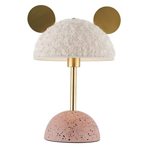 YIXIN2013SHOP Lámpara de Cabecera Dormitorio de la lámpara oídos Lindos y Peludos Pantallas de iluminación, lámpara de Mesa de Noche con Rosa Base de terrazo, for Las Hijas niños Girlfriends e