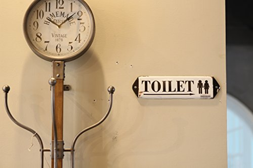 NIKKY HOME Vintage Rustic Toilet Door Sign Wall Plaque Sign 12 in by 3.12 in