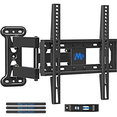 """Mounting Dream TV Wall Mount Full Motion for 26-55 Inch TVs with 19.3"""" Extension, TV Mount with Articulating Arm up to 60LBS VESA 400x400mm - Easy Single Stud Install"""