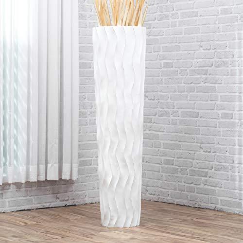 Leewadee Grande Vaso da Terra: Vaso Alto, Elemento Decorativo Fatto a Mano in Legno Esotico, Vaso per per Rami Decorativi, 112 cm, White Wash